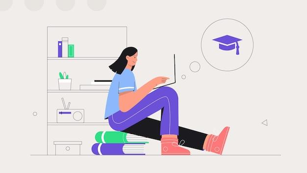 Femme est assise sur une pile de livres et d'études en ligne sur un ordinateur portable