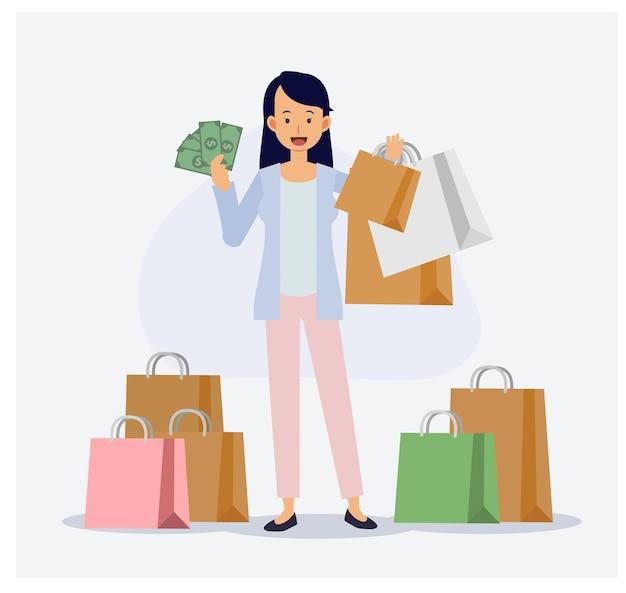 La femme est heureuse de faire du shopping, elle dépense beaucoup d'argent. concept d'accro du shopping. illustration de personnage de dessin animé 2d vecteur plat.