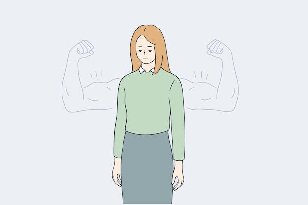 Femme estime de soi, confiance, concept de force
