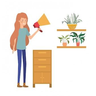 Femme avec des étagères en bois sur une icône blanche
