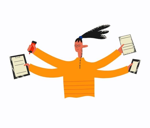 Femme ethnique avec plusieurs mains tenant des documents téléphoniques et un marqueur