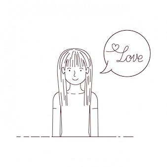 Femme avec étiquette amour caractère avatar