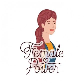 Femme avec étiquette personnage féminin avatar
