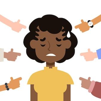 Femme, être, bouleversé, exclusion sociale, concept