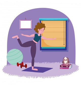 Femme, exercisme, yoga, salle, exercices, maison