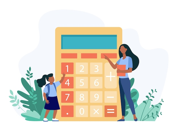 Femme expliquant à la fille comment utiliser la calculatrice. chiffre, enseignant, illustration vectorielle plane enfant. éducation et calcul