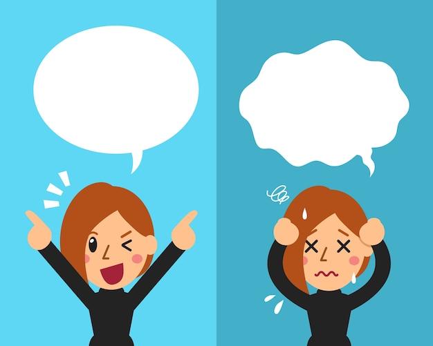 Femme exprimant différentes émotions avec des bulles