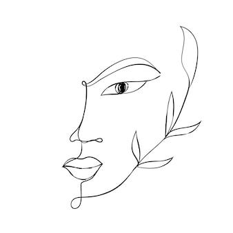 Femme face à un dessin au trait élément de conception pour l'impression de mode de carte de logo de beauté contour continu