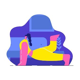 Femme, faire, yoga intérieur, plat, illustration vectorielle