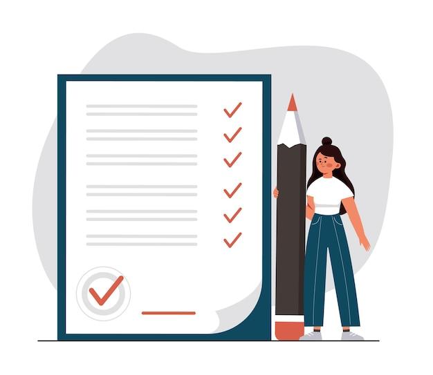 Femme faisant un accord de transaction vérifiant et signant un contrat de prêt