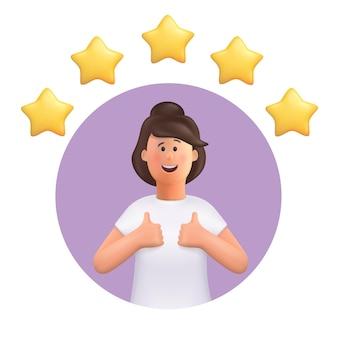 Femme faisant bon signe avec cinq étoiles