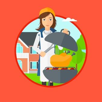 Femme faisant cuire le poulet sur la grille du barbecue.