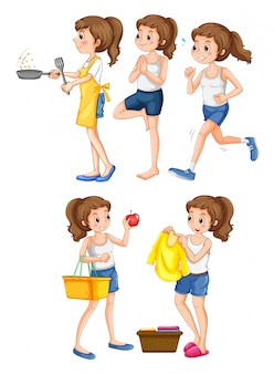 Femme faisant différentes activités illustration