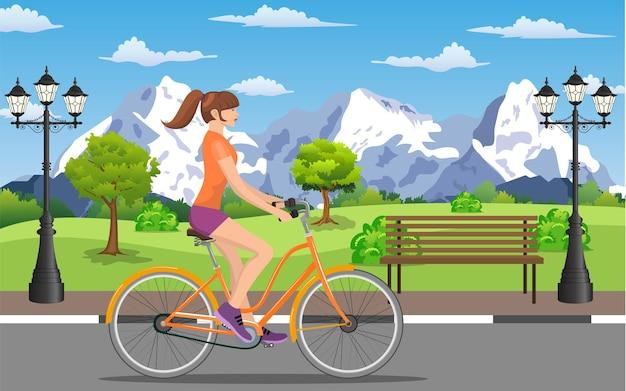 Femme faisant du vélo dans un parc public, illustration vectorielle au design plat