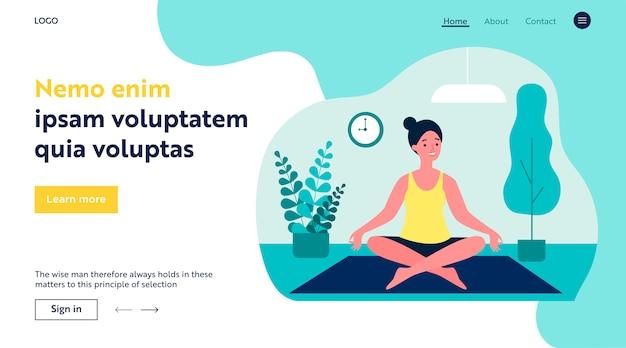 Femme faisant du yoga du matin à la maison illustration plate
