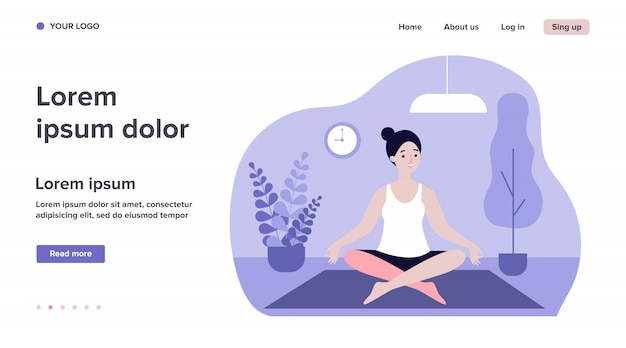 Femme faisant du yoga du matin à la maison illustration