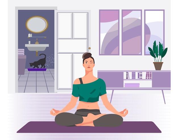Femme faisant du yoga à la maison illustration vectorielle plane
