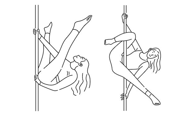 Femme faisant illustration d'art de ligne pole dance