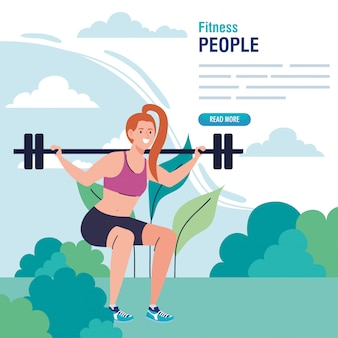 Femme faisant des squats avec barre de poids en plein air, exercice de loisirs sportifs