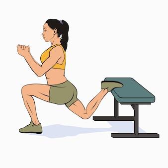 Femme faisant des squats split bulgare