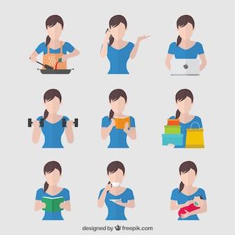 Femme faisant des tâches différentes