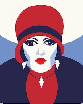 Femme fashion avec chapeau. portait style art déco. design plat.
