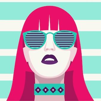 Femme fashion avec des lunettes de soleil. portrait d'art. design plat.