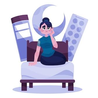 Femme fatiguée essayant de dormir