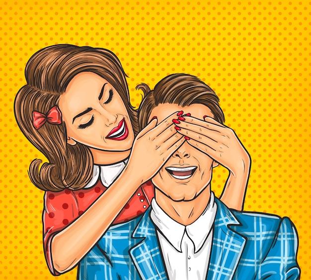 Femme ferme les yeux à son homme