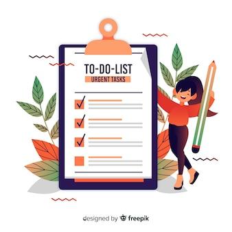 Femme, feuilles, vérification, géant, fond liste check