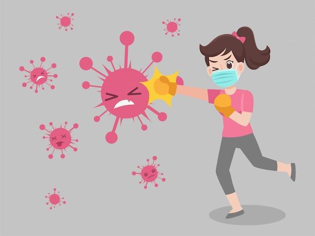 Femme fight virus punch portant un masque médical de protection chirurgicale pour prévenir le virus