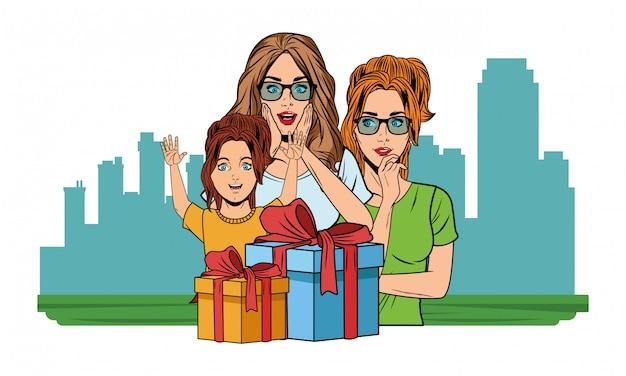 Femme, fille, cadeau, pop art