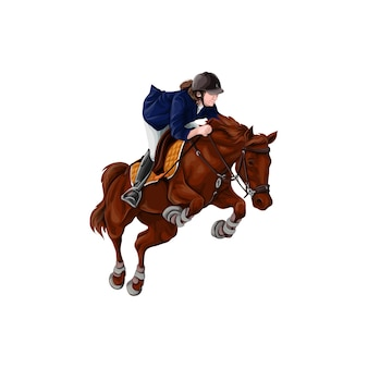 Femme, fille, équitation, chevaux, vector illustration, isolé