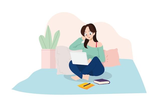 Femme fille étudiant à l'université travail à domicile étude à domicile travail à distance indépendant étude à distancejpg