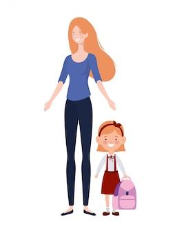Femme avec fille de la rentrée scolaire