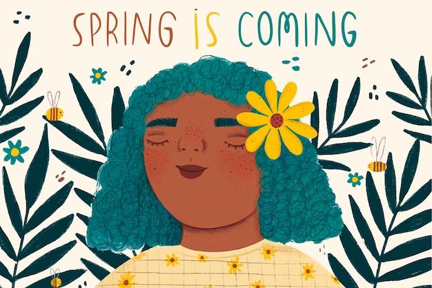 Femme, à, fleur jaune, dans, elle, cheveux, printemps, saison