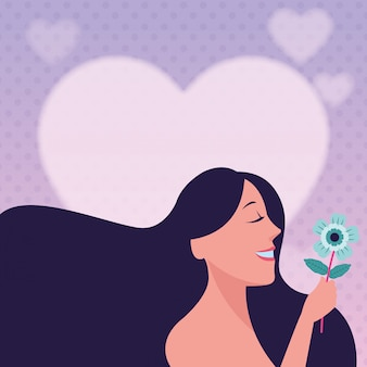 Femme avec fleur