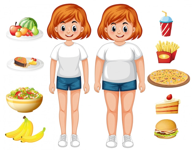 Femme en forme et en surpoids avec de la nourriture