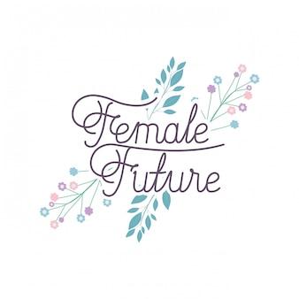 Femme future label avec icône isolé fleur