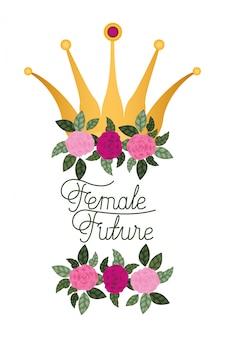 Femme future label avec icône isolé de roses