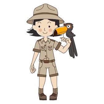 Femme gardien de zoo.