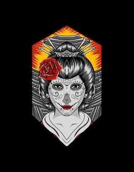 Femme geisha avec crâne de sucre maquillage