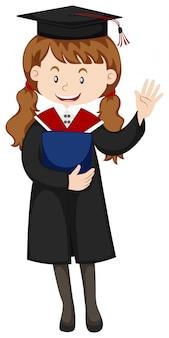 Femme, graduation, robe