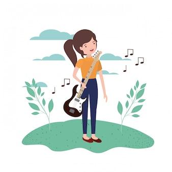 Femme, guitare électrique, dans, paysage, caractère