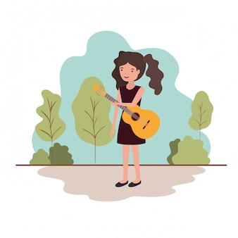 Femme, guitare, paysage, avatar, paysage
