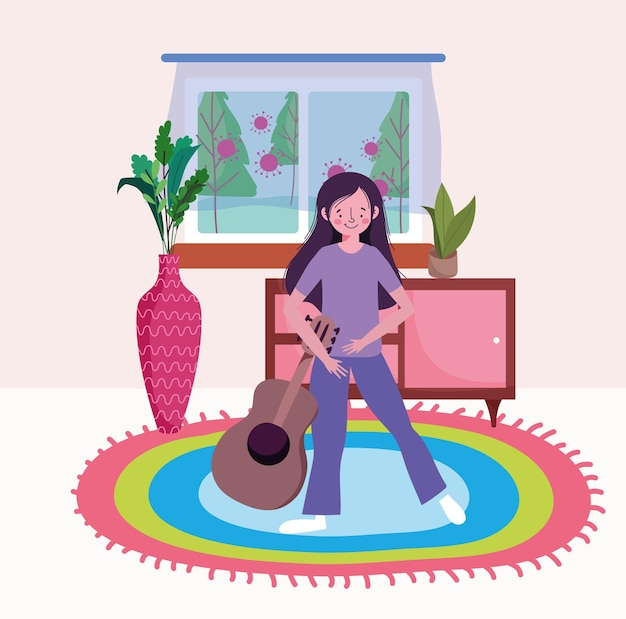 Femme, à, guitare