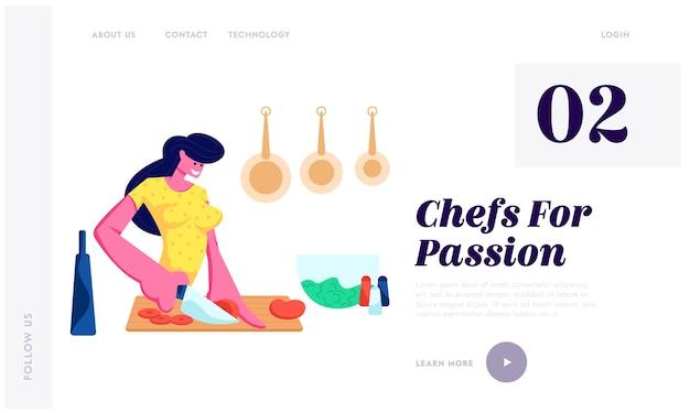 Femme, hacher les légumes, cuire sur la cuisine à la maison, préparer des aliments délicieux et sains pour les rencontres ou le dîner, temps libre. page de destination du site web, page web. illustration vectorielle plane de dessin animé