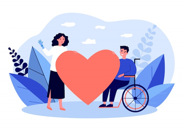 Femme, handicapé, homme, tenue, grand, coeur