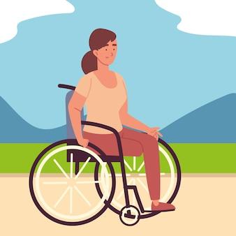 Femme handicapée en fauteuil roulant