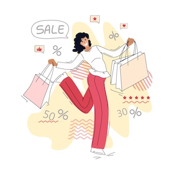 Femme heureuse avec des achats. vente. illustration. contexte.